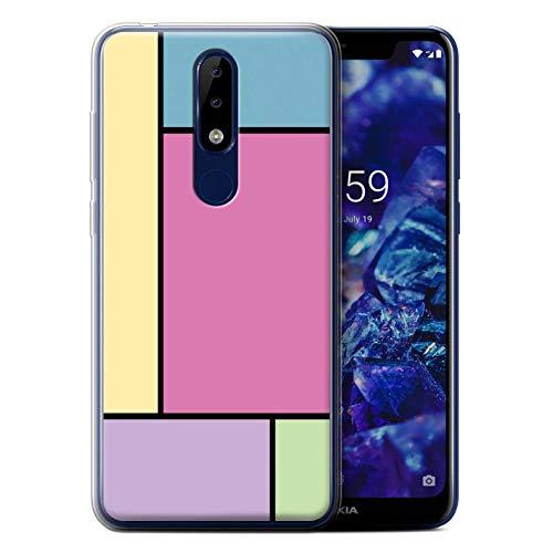 eSwish Custodia/Cover/Caso/Cassa Gel/TPU/Prottetiva Stampata con Il Disegno Piastrelle Pastello per Nokia 5.1 Plus/X5 2018-5 Piastrelle/Rosa