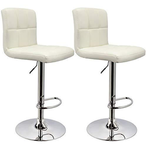 Bar Stool Duhome WY-451 Adjustable Swivel with Backrest Set of 2 Barstools (White)