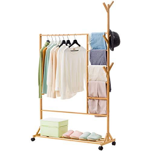 NSXBY Estante de almacenamiento para colgar ropa, con 6 ganchos laterales para árboles, 3 en 1, con rueda y estantes inferiores, para balcón y dormitorio