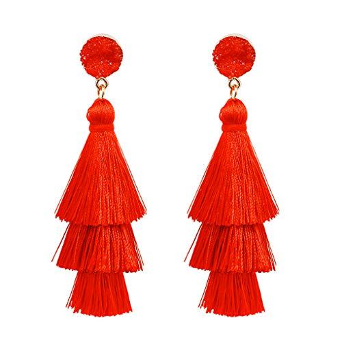 Mujeres Bohemia 3 capas de borla de la borla, mujer de la boda de la oreja, borla pendientes largos fiesta de bodas de la mujer de Navidad con flecos de la oreja