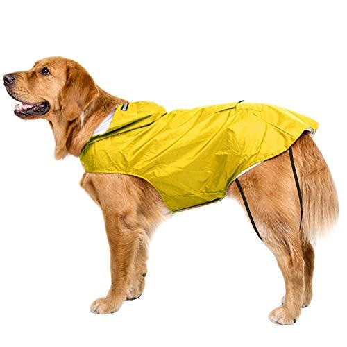 Bwiv Hunde Regenmantel Wasserdicht Hundemantel Groß Gefüttert Ultraleichte Atmungsaktive Hundejacke Reflexstreifen Regenjacke Hunde Mit Kapuze 3XL-6XL Gelb 3XL