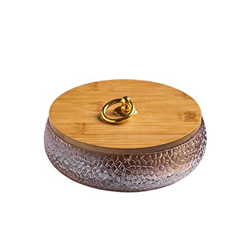 ZYLBDNB Cenicero Cenicero de Vidrio Inicio Tabla de café Oficina Decoración de Escritorio Cubierta de bambú Ashtray 5,70 Pulgadas Regalo para Fumadores Ceniceros Originales (Color : B)