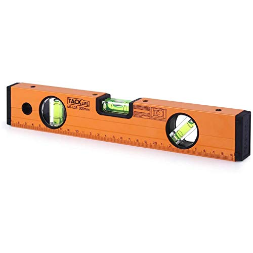 TACKLIFE Level 12-Inch Aluminum Alloy Magnetic Torpedo Level Plumb/Level/45-Degree, Measuring Shock Resistant Spirit Level with Standard and Metric Rulers MT-L03