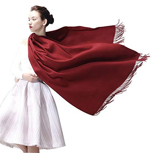 Vegena Damen Warm Schal,Klassische Volltonfarbe Cashmere Kopftücher,Tücher mit Quasten/fransen,200CM × 70CM Pashminas Weinrot