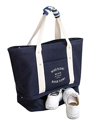 Malirona Large Travel Tote Bag 2-in-1 Beach Tote Bag with Shoes...