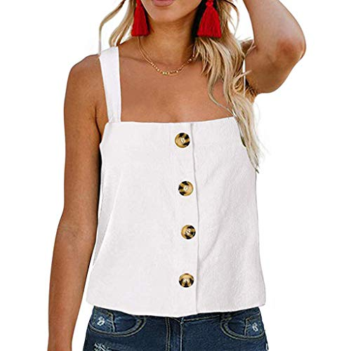 Rishine Women Solid Color Sexy Cramisole Button Sleeveless Shirt Tank Top T Shirt Ladies Loose Casual Sling Vest Blouse White