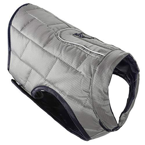 Mogoko Reflective Reversible Dog Winter Coat, Waterproof Pet Jacket Warm Vest with Harness/Leash Hole for Cold Snow Weather (Medium Size;Gray/Dark Blue)