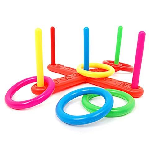 Quoits Set, Werfen Ring-Wurf Hoop, Hoop Ring-Wurf Kunststoff Quoits Indoor Outdoor Garten Spiel for Kinder Geschenk Spielzeug zcaqtajro