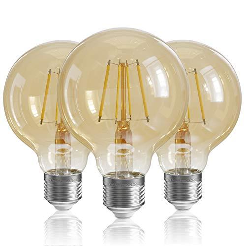 QNINE Glühbirne E27 Vintage, ersetzt 40W-50W Retro Glühlampe, 3 Stück 6W LED Birnen, Warmweiß(2700K), 600LM, Edison Leuchtmittel, Rauchglas/Dunkelglas, NICHT Dimmbar, 80mm, 220-240V