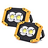 KOKOIN COB 30W 1500LM LED Work Light 2 Pack, Super Bright Rechargeable Portable Waterproof LED Flood Lights Outdoor Camping Emergency Car Repairing Job Site Lighting