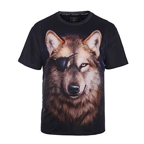 RUIXIAO T-Shirt à imprimé Loup Pirate à Manches Courtes pour Hommes col Rond Manches Courtes décontractées d'été,Black,XXL