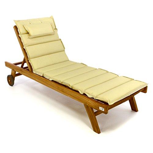 Divero Divero Set Sonnenliege Holzliege Gartenliege Teakholz behandelt inkl. Räder, verstellbares Kopfteil, hochwertige Auflage in Creme