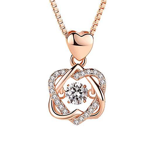 Selead Collar de piedra 925, regalo personalizado para su regalo de amistad, aniversario, regalo nico de dama de honor para mujeres, esposa, nias y novias (oro rosa)