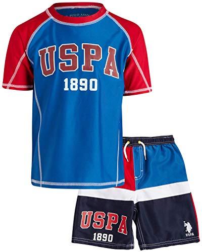 U.S. Polo Assn. Boys' 2-Piece Rashguard T-Shirt and Swim Trunk Set, Engine Red/Color Block, Size 2T