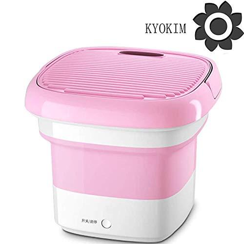 KYOKIM Mini Lavadora Plegable, Lavadora Portátil - Máquina De Limpieza Ultrasónica, Pequeña Lavadora Portátil Automática De Ropa Interior Plegable,Pink