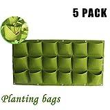 ハンギングガーデンプランター18ポケット付き垂直緑化ハンギングウォール屋外ガーデン成長する植物バッグ垂直ガーデンハンギングポケット、5pack