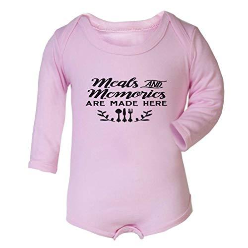 Comidas y recuerdos están hechos aquí cocina cm declaración bebé crecimiento manga larga chaleco rosa rosa Talla:6-12 meses