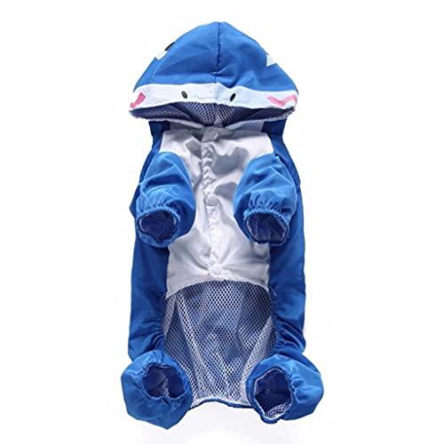 JNXY Linda Forma Animal Pet Impermeable Perro Ropa Liviana Gato con Capucha (Color : Blue, Size : XL)