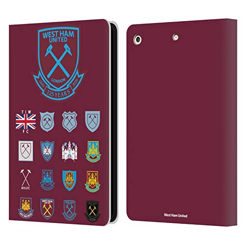 Head Case Designs Officially Licensed West Ham United FC Pattern 2 Crest History Leather Book Wallet Case Cover Compatible with Apple iPad Air (2013)