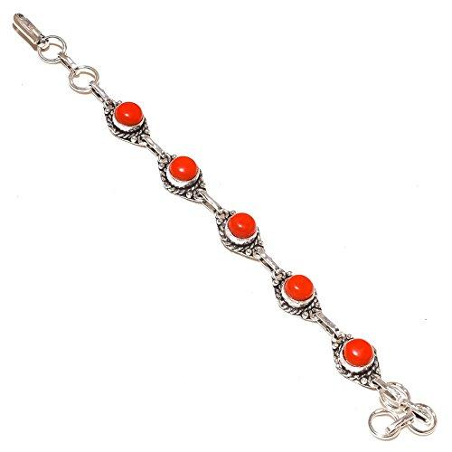 Shivi ¡De Moda ¡Gemas de Coral Rojo ¡Chicas Pulsera 7-9'de Largo joyería a Juego. ¡Cinco Piedras ¡Chapado en Plata oxidada Hecho A Mano ¡Joyería