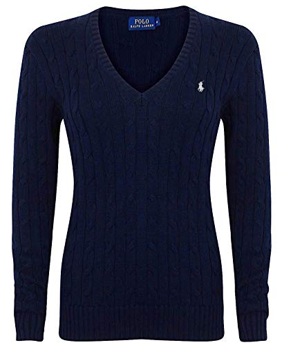 Polo Ralph Lauren Cable Knit V-Neck Cotton Pullover Kimberly M Navy (Hunter Navy)