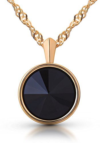 Premium Pendant Necklace with Swarovski Black Diamond Jet Crystal 18ct Yellow Gold over Sterling Silver Gift for Women and Girls Gift Box Birthday Christmas Anniversary Mother's Day
