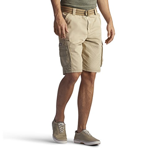 Lee Men's New Belted Wyoming Cargo Short, Buff, 36