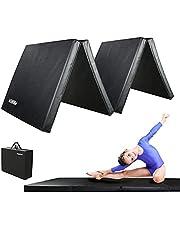 PROIRON-gymnastiekmatten, 4 opvouwbare oefenmatten Yoga Gym Home Fitness Workout Mat, dik schuim Zacht mat voor Crash Tumble Pilates, antislip PU-leer en handgrepen