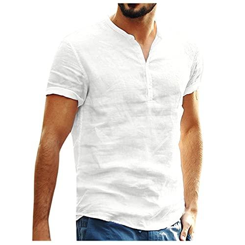 Maglietta T-Shirt da Uomo Estivo Top Estivi da Uomo Camicia in Cotone Lino a Maniche Corte con Bottoni Casual Hawaii in Tinta Unita, per Interni, Lavoro e Viaggi