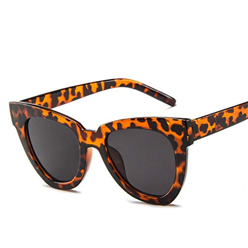 YIERJIU Gafas de Sol Gafas de Sol de Ojo de Gato Famosas Gafas de Sol de Marca Mujer Gafas de Sol de Gran tamaño para Mujer Gafas de cateye,Leopard
