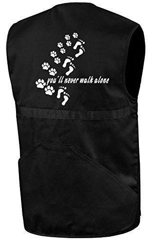 Hundesport-Weste | You´ll Never Walk Alone | Schwarz | Brust- und Rückendruck | Größe M