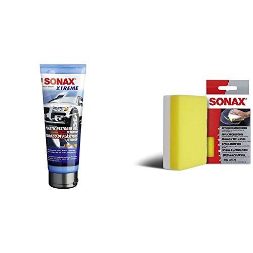 SONAX Xtreme KunststoffGel Außen NanoPro (250 ml) pflegt unlackierte Kunststoffteile im Außenbereich von Fahrzeugen & ApplikationsSchwamm (1 Stück) zum Auftragen und Verarbeiten von Polituren etc.