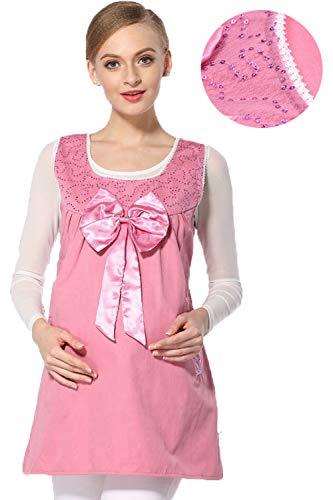 Bospyaf 360 ° Strahlungssichere Kleidung Für Schwangere Frauen, Metallfaser Mode Umstandsweste,Rosa,XL