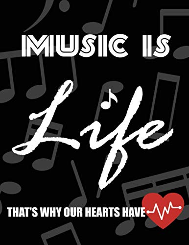 music is life that's why our hearts have beats: Guitar Tablature Notebook Blank Guitar Manuscript Paper Sheets for Music Chord Notation, 8.5 x 11', For Guitarists, Students, Teachers, kids, boys