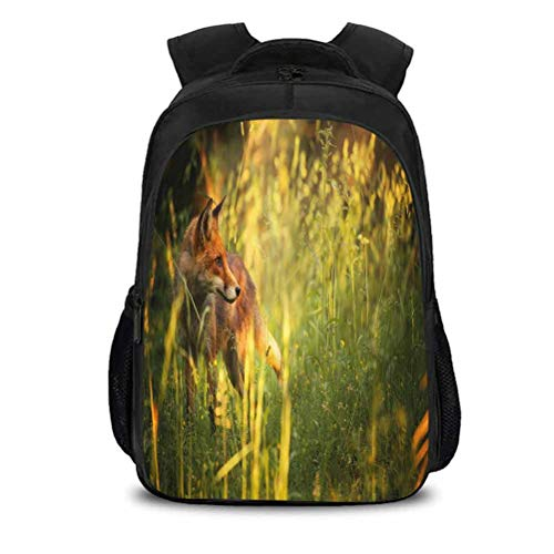 Light and Fashionable Schoolbag, Fox Vixen Mammal Summer Forest, Compartment, Adjustable Shoulder Bag, W10.6 x H15.7In