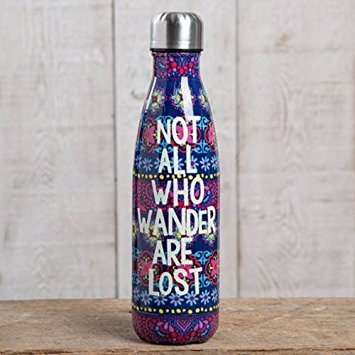 """Natural Life """"Not All Who Wander Are Lost"""" Double Wall Water Bottle"""