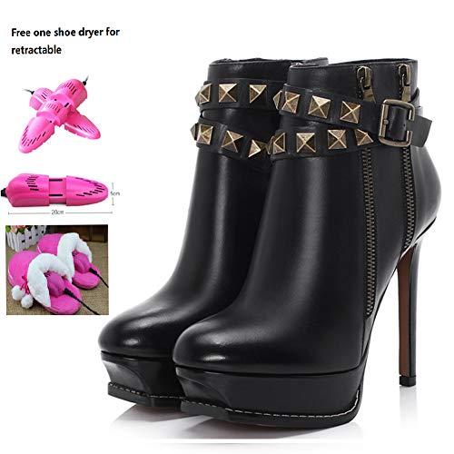 Vrouwen enkellaarzen met klinknagel riem gesp, inclusief een gratis intrekbare schoen droger, zwart