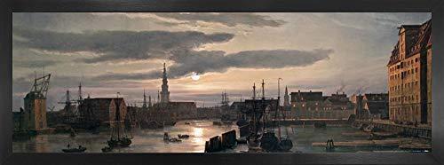 1art1 Johan Christian Clausen Dahl Poster Kunstdruck & MDF-Rahmen - Der Kopenhagener Hafen Im Mondschein, 1846 (91 x 30cm)