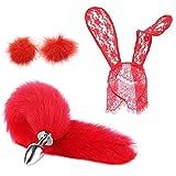 Diadema de orejas de conejo para la cabeza de la cola de zorro Aṇ-āl lddg Kit de accesorios de ropa de felpa mullida...