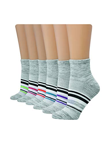 Hanes Women's Shoe Size: 5-9 Lightweight Breathable Ventilation Ankle Socks, 6-Pair Pack, Grey Assorted