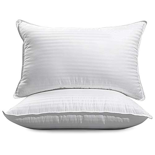 Bed Pillows for Sleeping 2 Pack,100% Cotton Pillows with Luxury Hotel Quality,Soft and Comfortable Premium Down Alternative Pillows for Back,Stomach & Side Sleepers,(White & Queen Size 20X30 inch)