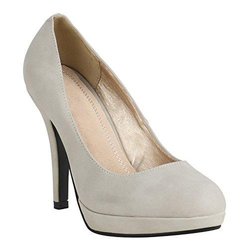 Damen Schuhe Peeptoes Pumps Plateau Stilettos High Heels Abendschuhe 157133 Grau Brito 38 Flandell