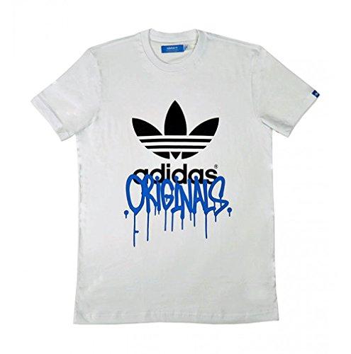 adidas T-shirt pour homme Trefoil City - Blanc/noir - Taille S - Z07355