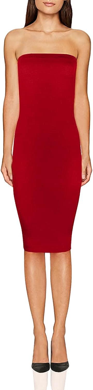FASHION BOOMY Women's Bodycon Midi Tube Dress - Sexy Club Party Strapless Dresses - Regular and Plus Sizes 3X Red