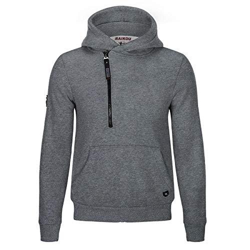 RAIKOU Sweat à Décontracté à Capuche Zippé pour Homme Veste en Coton Svelte Fashion Sweatshirts Doublure Laine,Logo Métal(XL, Anthracite)