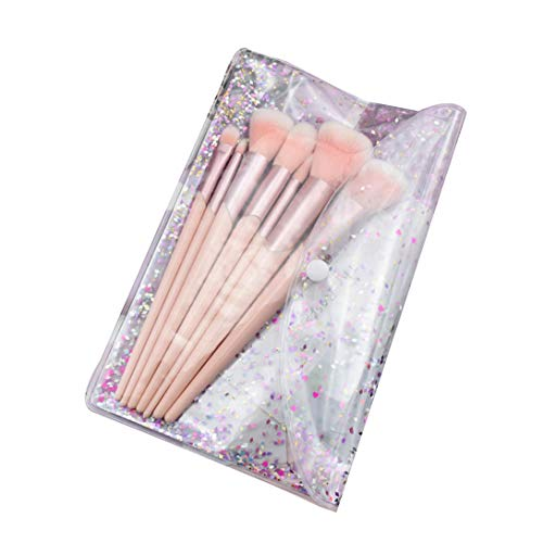 Pinceaux Maquillages Set de 7 Pièces Fondation Mélange Blush Yeux Visage Poudre Brosse Pinceaux à Fond de Teint Fard à Paupières Brosse Rose+Sac Plastique 7PCS