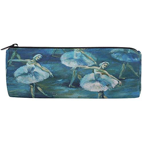 Bolso de lápiz Pintura de bailarina de ballet, Estuche de lápices Bolso de cremallera Bolígrafo Soporte de bolsa de pincel de maquillaje para oficina escolar, 7.7X7.7X20.5Cm