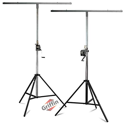 Crank Up Light Stands (2 Pack) Stage Lighting Truss System by GRIFFIN | Portable Speaker Tripod Platform Rig | Adjustable Trussing DJ Booth Kit | T Bar Mount for Can Lights | Music Equipment Package
