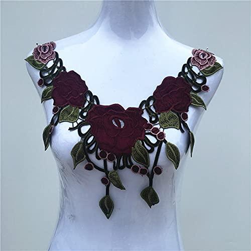 1 pieza de tela de encaje de color vestido con apliques motivo blusa adornos de costura DIY escote collar accesorios de decoración de vestuario 10-18-CL662 rojo vino