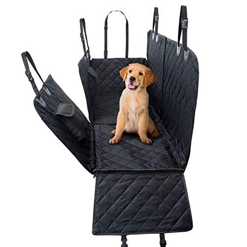 JAMAXX Autoschondecke Waschbar Wasserdicht - Hundedecke Teilbar mit Reißverschluss und Seitenschutz & Taschen, Rückbank Schutzdecke für Pkw SUV Kombi Van